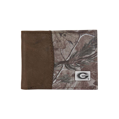 georgia leather / camo bifold wallet