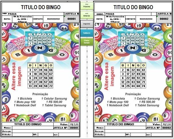 Gerador De Bingo Gera Até 10mil Cartelas 1 Premiação Novo - R  25 674e979b766b8