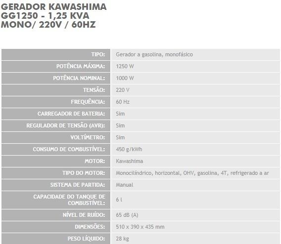 830b70708fe Gerador De Energia A Gasolina Kawashima Gg1250 - Mono 220v - R ...