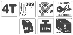 gerador de energia gasolina gamma 6500ve p. elétrica bivolt