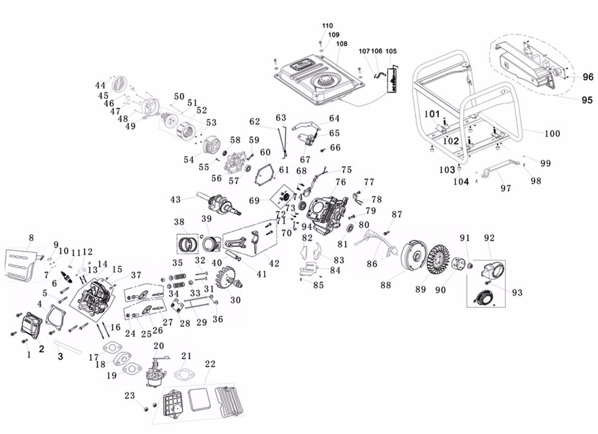 8d079b3be95 Descrição. GERADOR DE ENERGIA GASOLINA K KAWASHIMA GG1250 - 1 ...