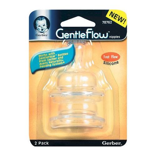 gerber repuesto biberón gentleflow silicón flujo rápido 2pk