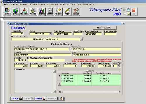 gerenciador controle transporte - receitas gastos frota