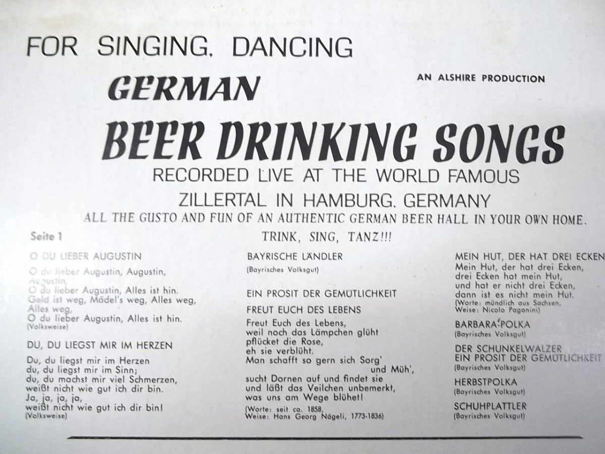 German Beer Drinking Songs Zillertal Band Lp Impecável