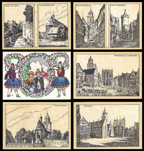 germany alemanha alsfeld l-16 s/fe 6 notgelds 1922 * c o l *