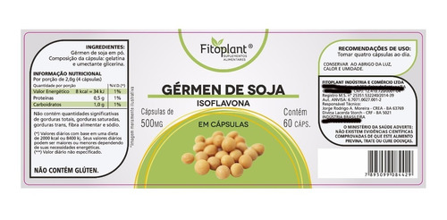 gérmen soja isoflavona fitoplant 60 cáp. 500mg caixa c/ 5 potes premiun original