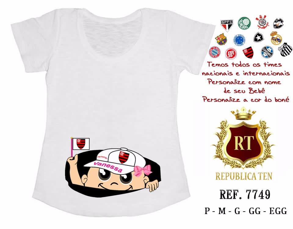 8fc1819bf7 Camiseta Gestante Bebê Espiando Personalizada Time Palmeiras - R  39 ...