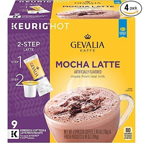 gevalia mocha latte, k-cup pods y la espuma paquetes, 9 coun