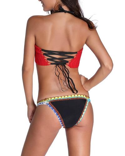 gh bikini sexy top crochet rojo y neopreno más envío gratis