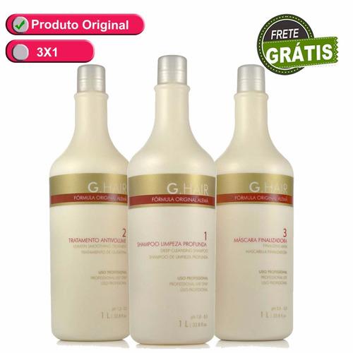 g.hair kit escova alemã inteligente 3x1 litro frete grátis