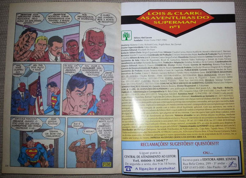 gibi lois & clark nº 1 as aventuras do superman - abril 1996
