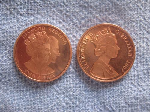 gibraltar 2 pence 2007 conmemorativa diamond weding