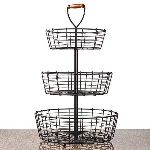 giftburg de 3 niveles de hierro forjado cesta de alambre de