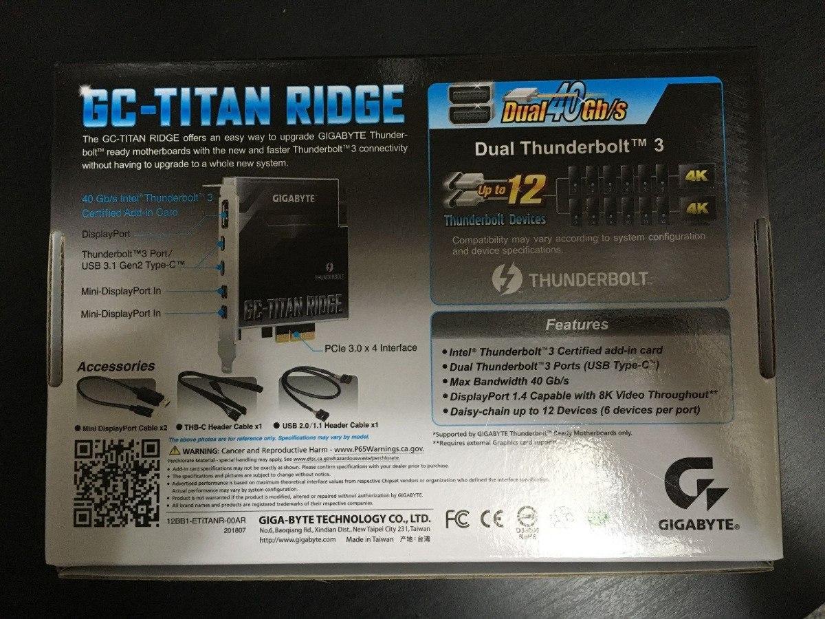 Gigabyte Gc-titan Ridge (rev 1 0) Thunderbolt 3