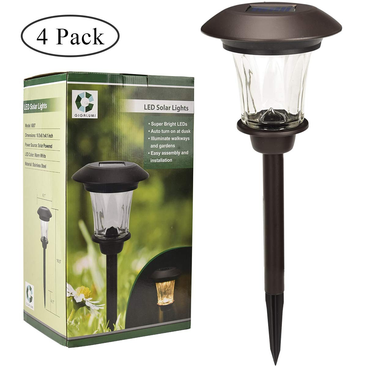 Gigalumi Solar Path Lights Set Of 4 Bronze With Glass Len 233 900 En Mercado Libre