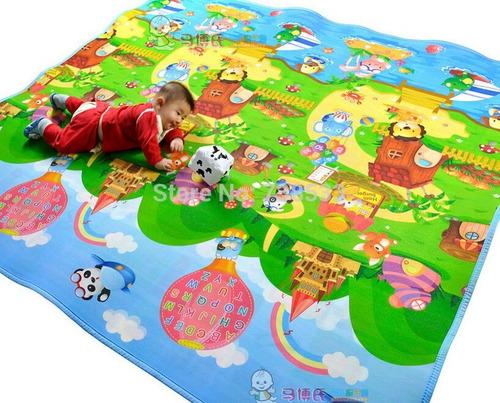 gigante alfombra de gateo anti golpes para bebes