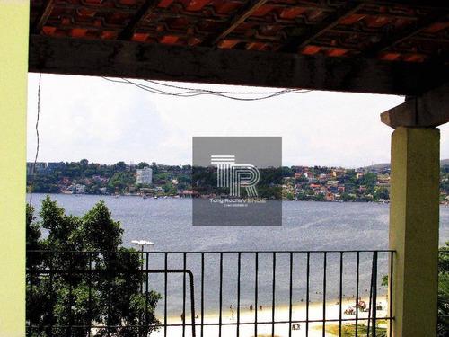 gigantesca casa 5 quartos, 4 garagens, com 640m² de terreno na orla da praia - charitas - ca0018