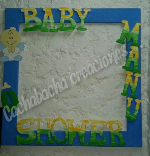 gigantografia cigüeña baby shower marcó para foto