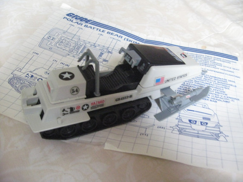 gijoe 1983 polar battle bear skimobile vehicle w blue prints