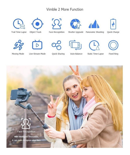 gimbal selfie steady p/ smartphone feiyu tech vimble2