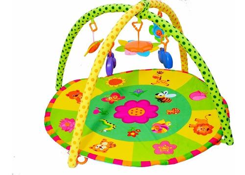 gimnasio alfombra didactica p/ bebé con flores y 5 moviles!