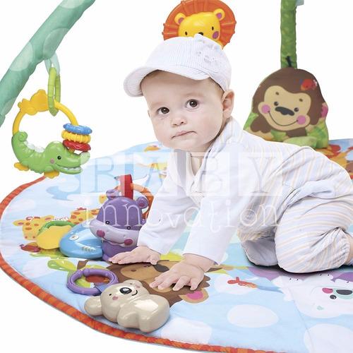 gimnasio bebe manta didactica circular luz y musica + envio