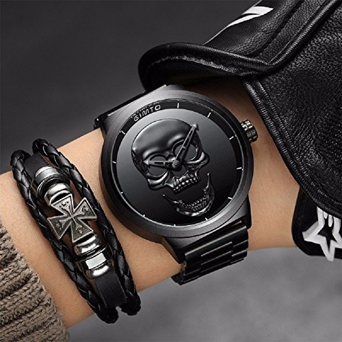 gimto creativo 3d skull reloj  hombre cool stainless steel b