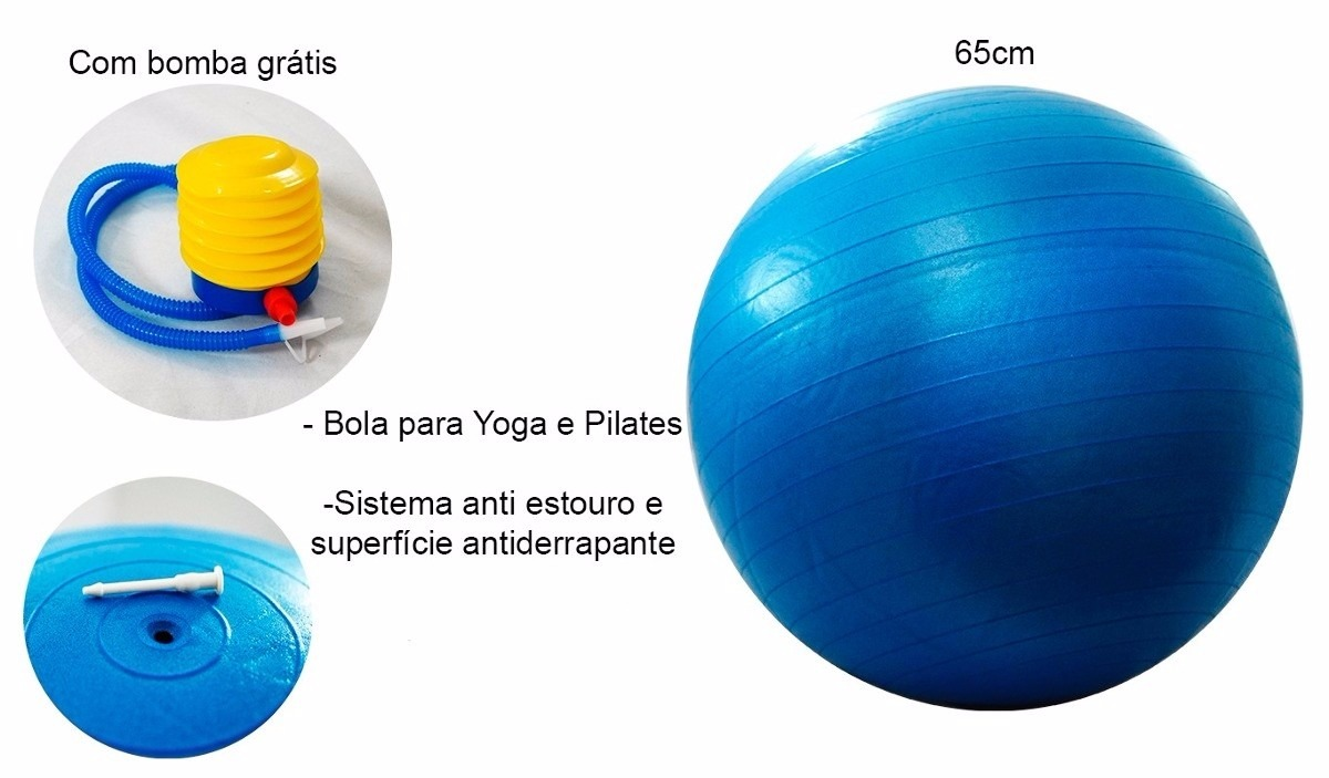 3e3d31adb337e Bola Pilates Yoga Suiça Ginástica Fitness 75 Cm Bomba Grátis - R  54 ...
