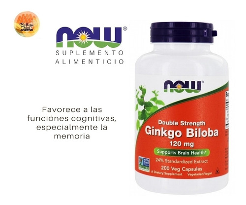 ginkgo biloba 120 mg x 100 caps vegetarianas marca now