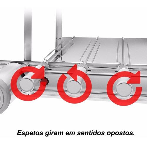 gira grill churrasqueira inox 4 espetos + 3 grelhas + brinde