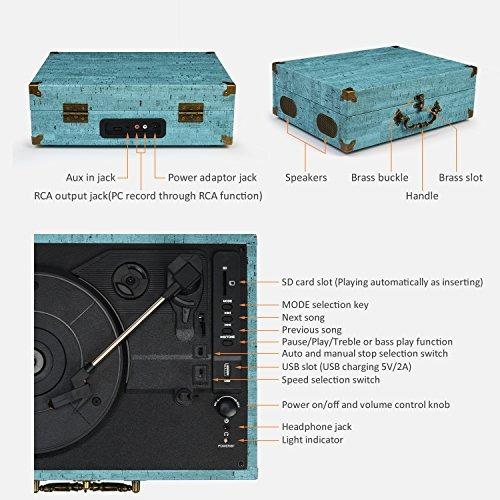 giradiscos de velocidad estereo con bluetooth portatil cmc 3