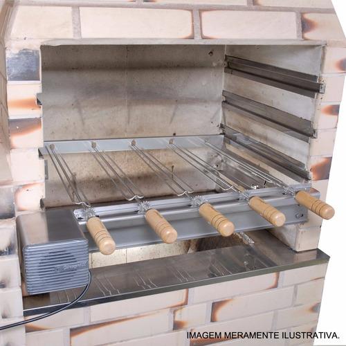 giragrill churrasqueira giratória p pre-moldadas c 4 espetos