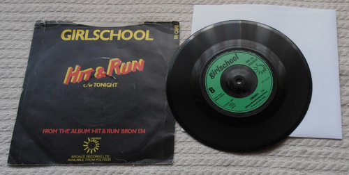 girlschool - hit & run (vinilo 7'' single 1ra. ed. u k 1981)
