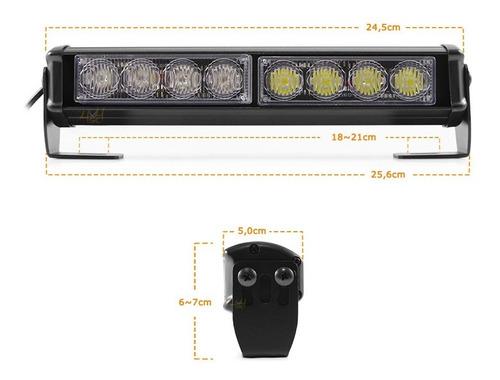 giroflex barra led 26cm cor ambar-branco efeitos strobo moto