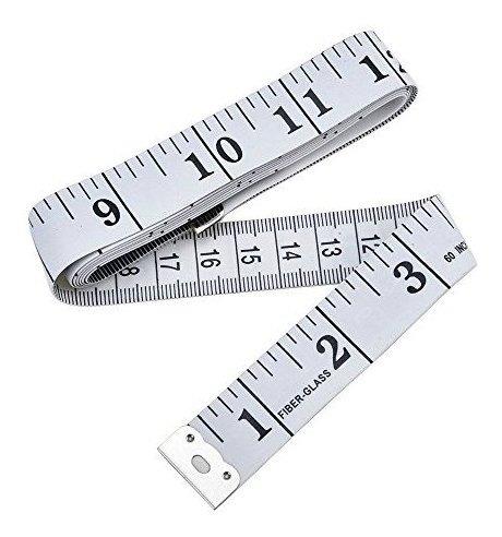 60 pulgadas Cinta m/étrica suave doble escala regla y cinta m/étrica flexible para costurero blanco cinta m/étrica suave para costura de tela 1,5 m paquete de 2
