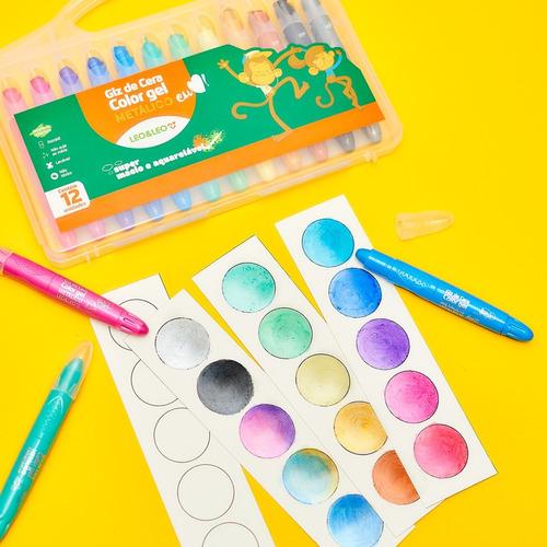 giz de cera color gel metálico 12 cores leo e leo