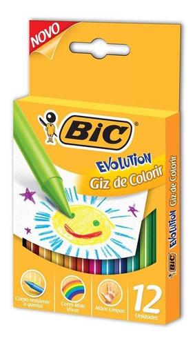 giz de cera - fino - 12 cores - evolution - bic