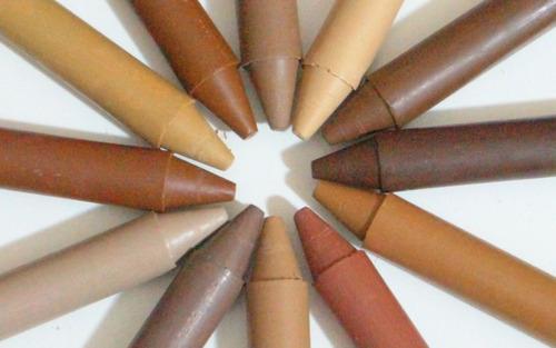 giz de cera tons de pele pintkor 12 cores