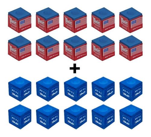 giz master azul sinuca bilhar snooker  10 unidades + brindes