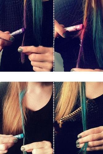 giz pastel para pintar cabelo / 12 cores (mechas/cosplay)
