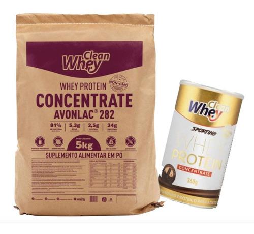 glanbia clean whey concentrada avonlac 282 5kg + clean whey cacau belga 360g brinde - promoção