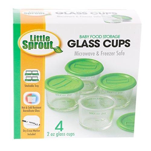 para microondas congelador y lavavajillas seguro Sprout Cups Vidrio tarros de comida para beb/és 4pk 2 oz