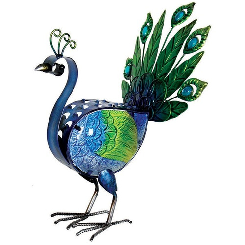 glass peacock statue with automatic timer