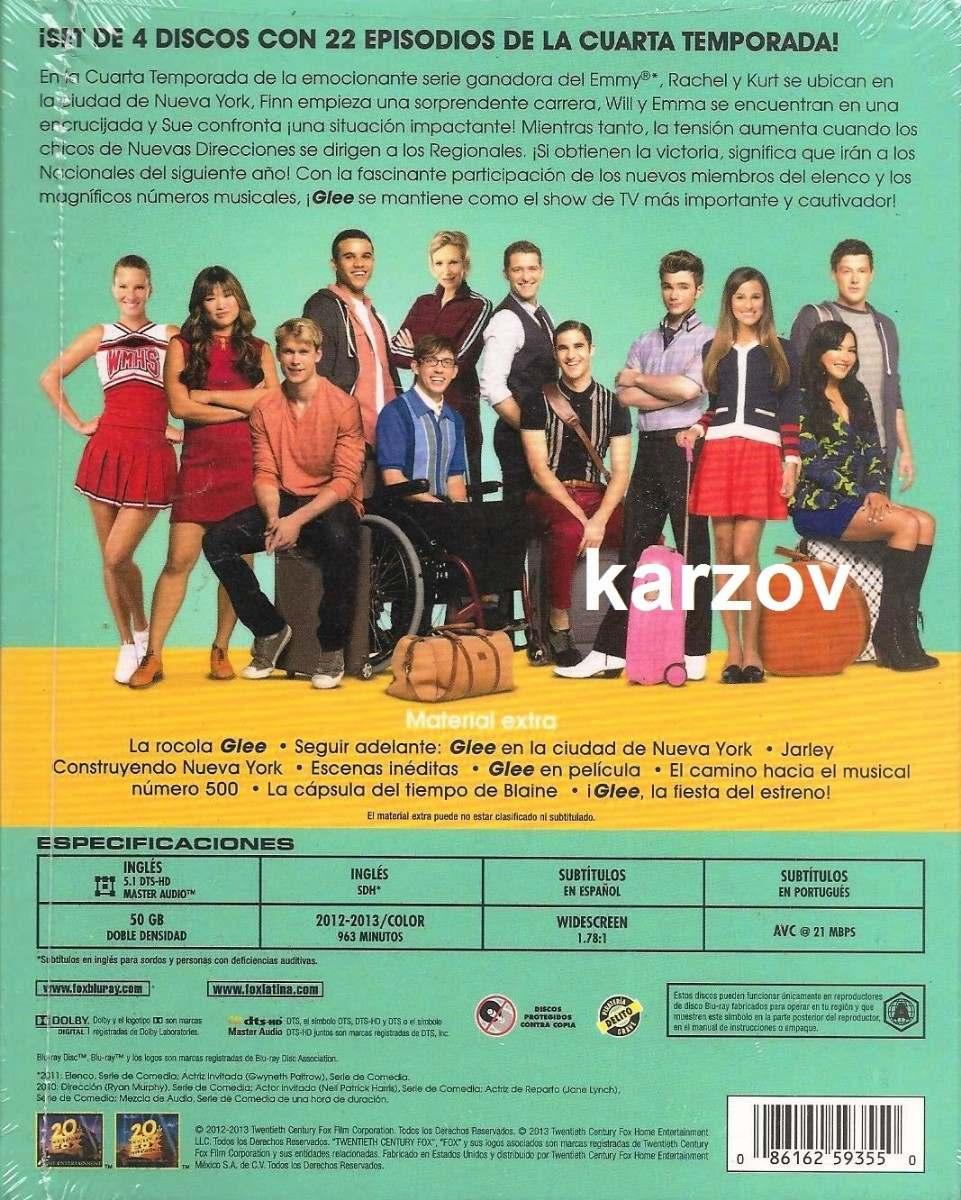 Glee Cuarta Temporada 4 Cuatro Blu-ray - $ 389.00 en Mercado Libre