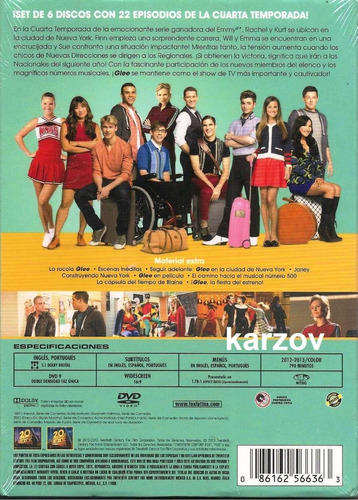 glee cuarta temporada 4 cuatro dvd