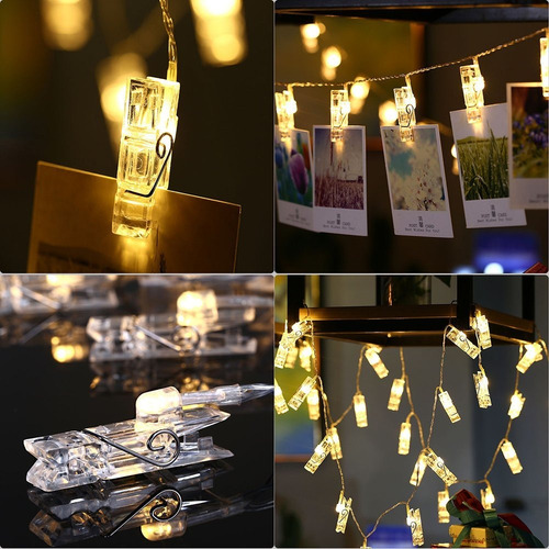 glintee clip foto luces de cadena, 20 luces led secuencia de