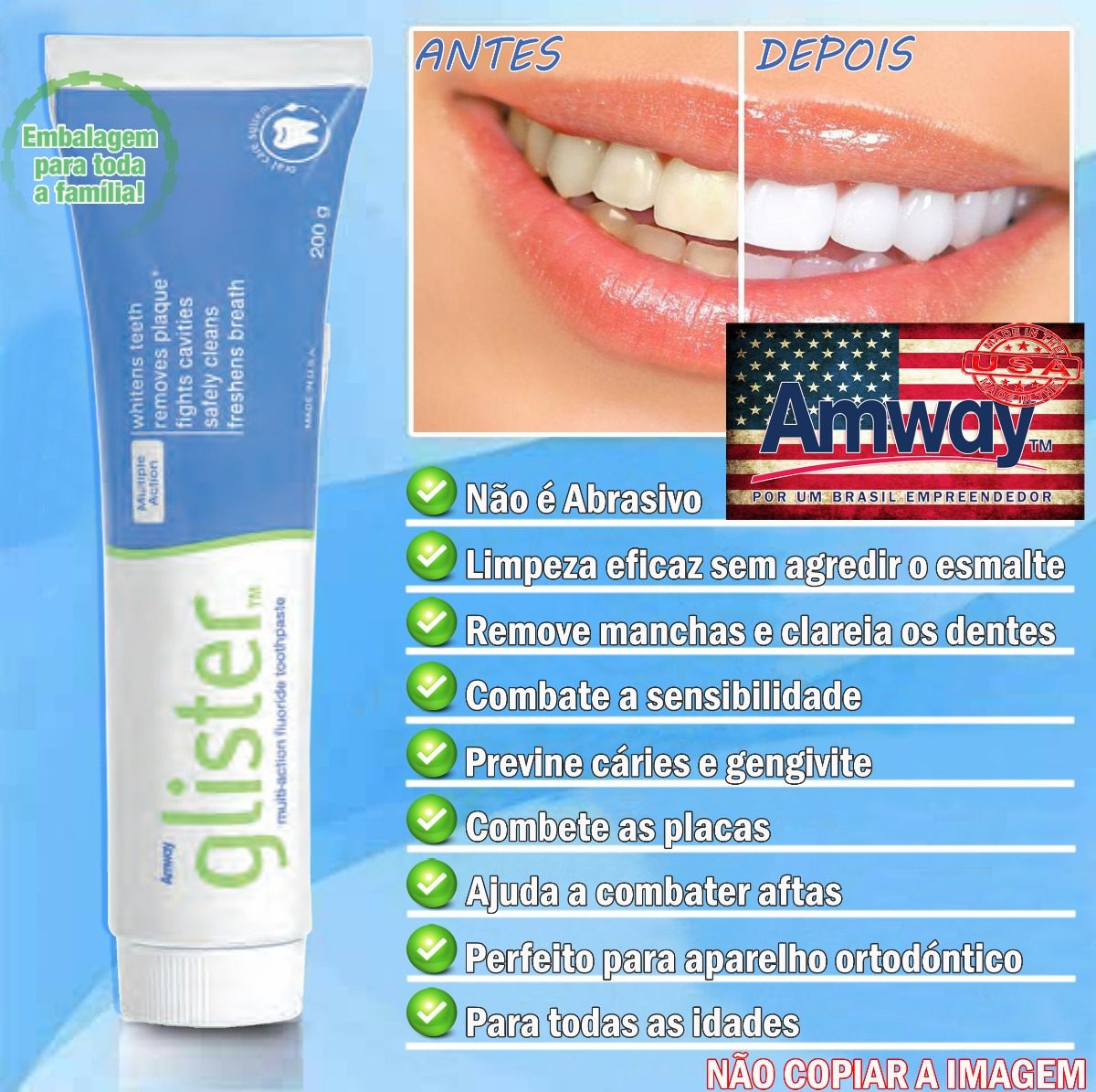 Glister Creme Dental 200g Pasta De Dente 5 Unidades Amway 05 R