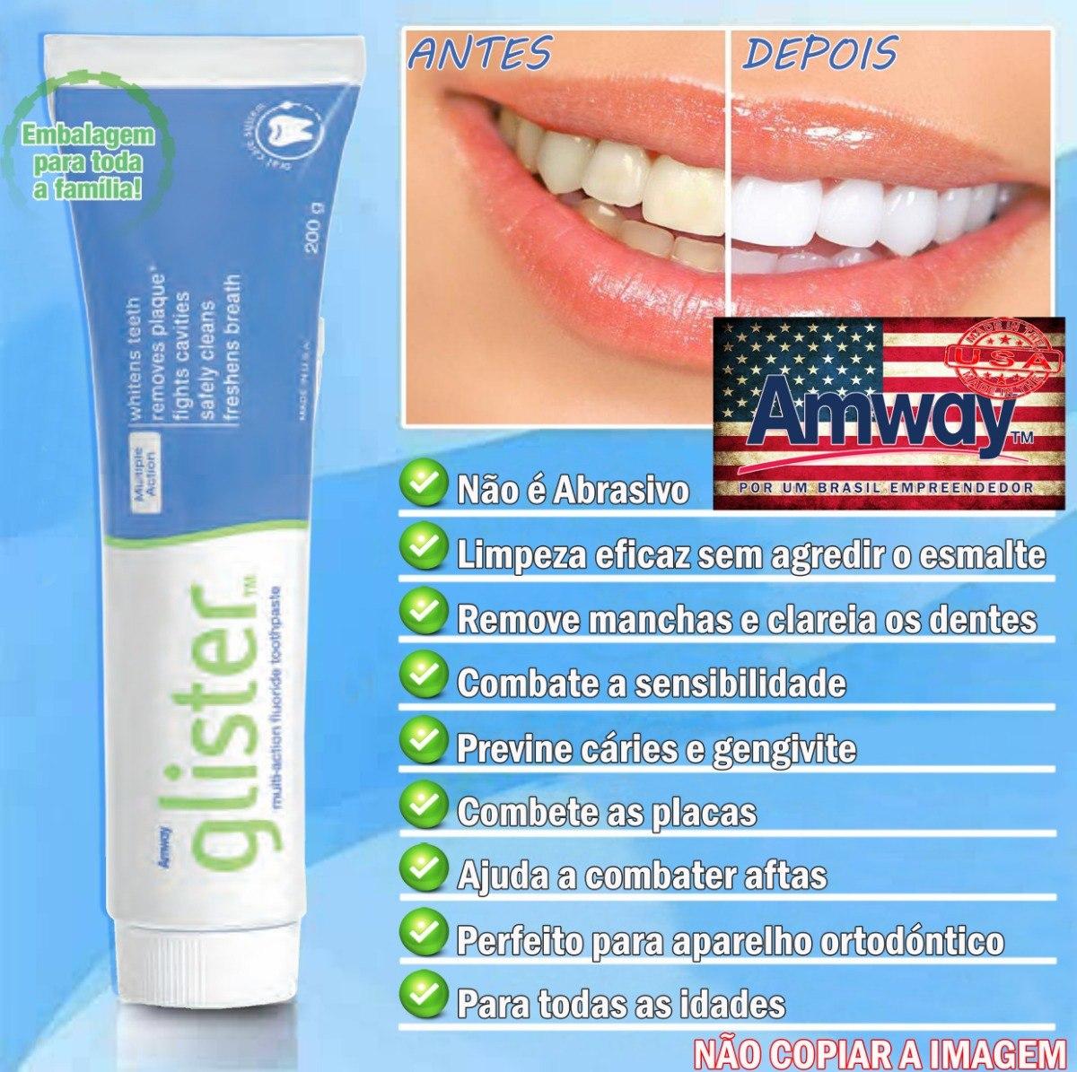 Glister Creme Dental 200g Pasta De Dente 6 Unidade Amway Eua R