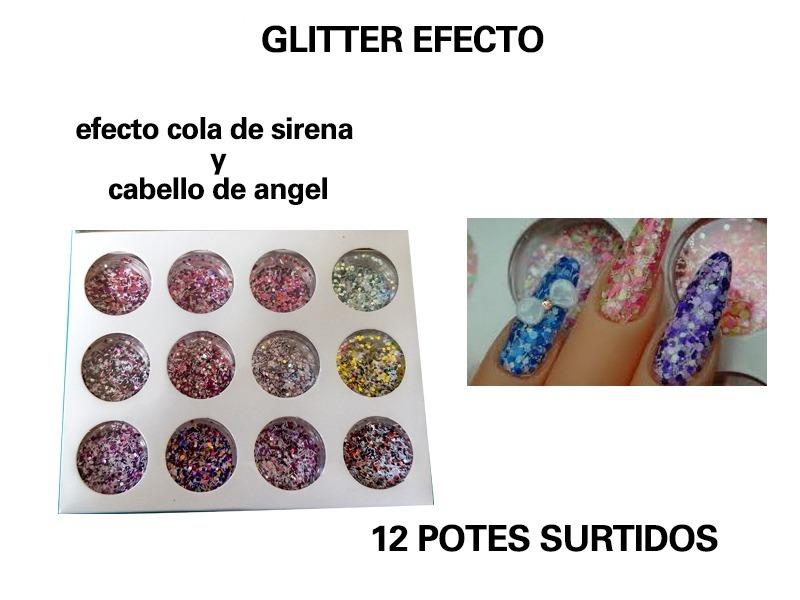 Glitter Efecto Cola De Sirena+cabello De Angel X 12u.p/uñas - $ 130 ...