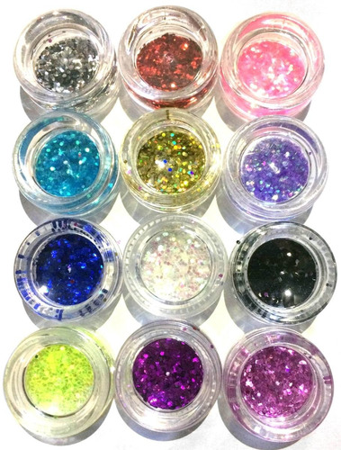 glitter encapsulado flocado para unhas 12 cores hexagonal